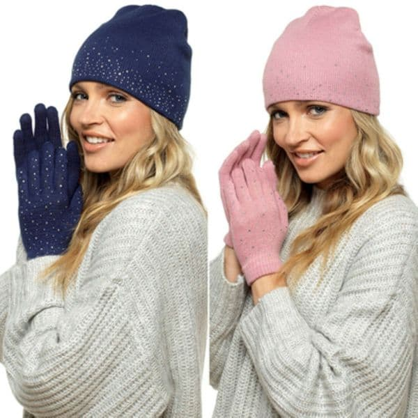 Ladies Hat & Glove Set With Diamontes Navy &Heather Pink Colour  Great xmas gift